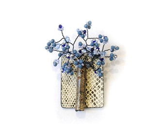 Blue Ice Crystal Beads Tree Brooch / Necklace Pandent