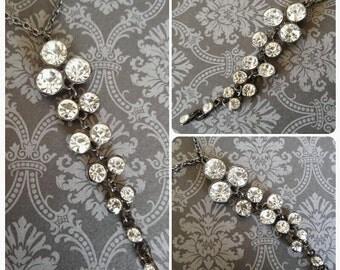 Elegant Vintage Rhinestone Drop Pendant Necklace
