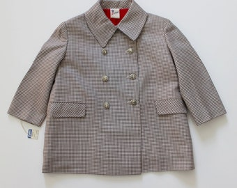 FRENCH VINTAGE 50's / kids / light coat / mid-season jacket / pied de poule wool fabric / new old stock / size 2 years