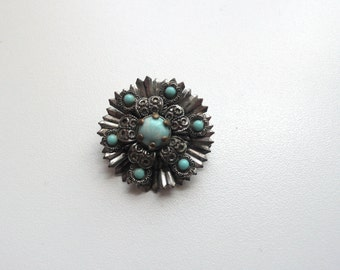 Vintage Silver Tone Floral Brooch With Blue Stones