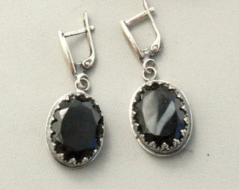 Earrings black agate , silver 925 ,Handcrafted Earrings