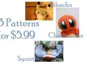 3 PATTERNS Pokemon Chibi Crochet Amigurumi PATTERN