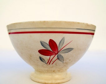 Old French Cafe au Lait Gien Glaieul Bowl Flower hand painted