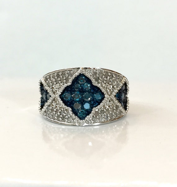 blue white 1 ct ring wide sterling silver