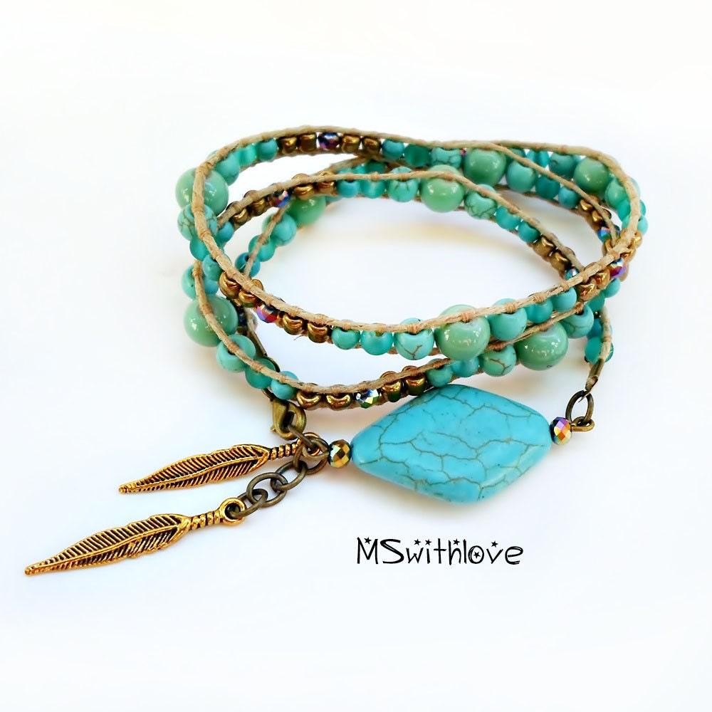 bohemian turquoise wrap bracelet beaded bracelet feather. Black Bedroom Furniture Sets. Home Design Ideas