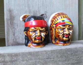 Vintage Native American Head Salt and Pepper Shakers