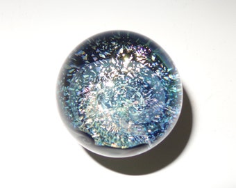 Phantom Dichroic Glass Galaxy Marble, Silver Blue, UV Ready  - boro, handmade (ref #445)