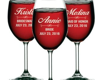 Bridesmaid Gift, Bridesmaid Wine Glasses, Personalized Wine Glass,  Custom Wine Glasses,  Wine Glasses Personalized, Etched Wine Glasses