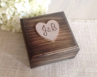 Rustic ring bearer box with ring bearer pillow, wedding ring box, rustic wood finish personalized
