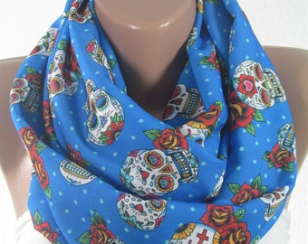 Sugar Skull Scarf Day of the Dead Scarf Infinity Scarf Halloween Christmas Gift For Her Gift for Women Fall Winter Scarf Fashion Accessories