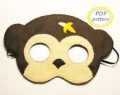 PDF PATTERN Monkey felt mask sewing tutorial instruction DIY handmade brown animal costume accessory for boys girls adults Dress up play