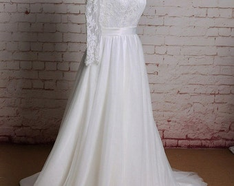 Long Sheer Lace Sleeves Wedding Dress with Keyhole Back  Bateau Neckline Bridal Gown with Simple Tulle Skirt