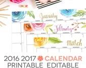 "2016 2017 Calendar Printable, Editable, Digital Monthly Pages, Letter Size 8.5"" x 11"" Instant Download, Landscape"