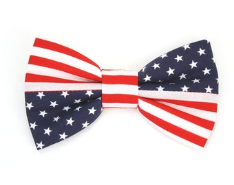 American Flag Dog Bow Tie July 4th Patriotic Cat Bow Tie Red White and Blue Stars and Stripes Dog Bowtie