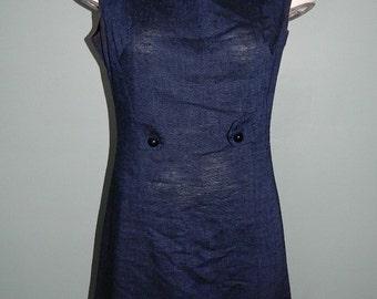 Vintage 1970s Midnight Blue Sleeveless Linen Dress Size Small
