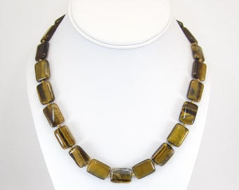 Vintage Tiger Eye Bead Necklace, Browns, Hand Knotted, Banded Agate
