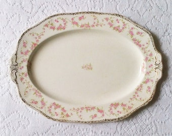Alfred Meakin Harmony Rose Ivory & Pink Serving Platter - Made in England