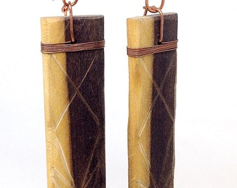 Handcarved  Spalted Poplar dangle earrings