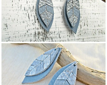 Light Blue Feathers Leather Earrings, Leather earrings, Long earrings, Tribal Earrings, Leaf earrings, Silver Blue Earrings, Boho Earrings