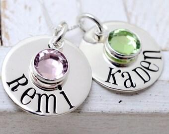 Birthstone Necklace, Personalized Necklace with Swarovski Crystals, Mom Grandma Necklace - Personalized Necklace - Birthstone Jewelry