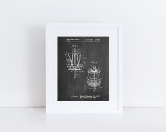 Disk Golf Basket 1988 Patent Poster, Frisbee Golf, College Room Decor, Unique Gift Ideas, Sports Wall Decor, PP0783