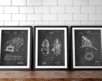 Fireman Patent Posters Group of 3, Fire Truck Wall Art, Firefighter Nursery, Fireman Helmet, Firefighter Wall Decor, Fire Engine, PP1156