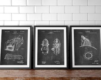 Fireman Patent Posters Group of 3, Fire Truck Wall Art, Firefighter Nursery, Fireman Helmet, Firefighter Wall Decor, Fire Engine, PP1156