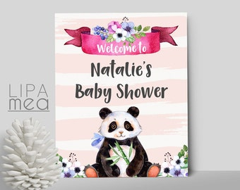Baby Shower Welcome Sign Printable, Floral Welcome Sign, Printable Welcome  Sign, Panda Baby