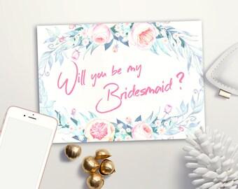 Bridesmaid card Printable, Maid of Honor & Matron of Honor card, Peony Floral Bridesmaid Cards, Printable Will you be my Bridesmaid