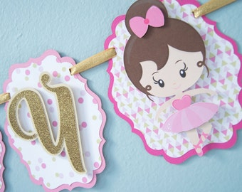 READY TO SHIP-Ballerina Birthday Banner, Dancer Birthday, Tutu