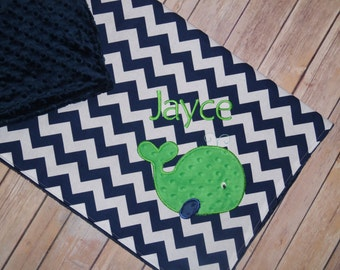 Whale - Personalized Minky Baby Blanket with Embroidered Whale- Navy Blue Chevron