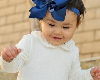 Baby headbands, navy blue bow headband, baby girl headbands, girl bow clip, 1st birthday, baby bows, infant headbands, newborn headbands