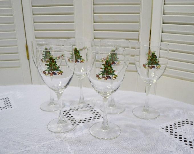 Vintage Wine Glass Set of 6 Christmas Tree Design Holiday Stemware Glassware PanchosPorch