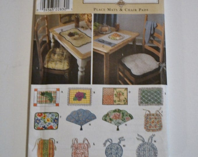 Simplicity Pattern 8696 Home Decor Place Mats Chair Pads Uncut Sewing Supplies PanchosPorch
