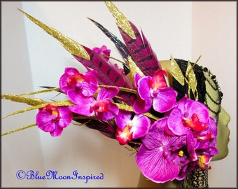 ReadyToShip Pink/Purply Orchids,Magenta Pheasant Feathers
