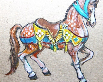 Set of 2 Carousel Horse Printables greeting cards prints quilting blocks party decoration