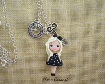 Alice in wonderland in blacknecklace polymer clay creations