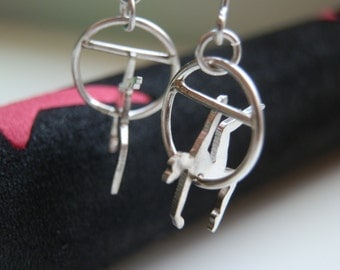 Silver trapeze earrings. Circus jewelry. Circus jewelery.