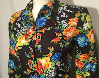Vintage Small S Black Mod Yellow Orange Blue White Floral 70s Pointed Collar Long Sleeve Polyester Shirt