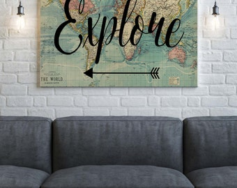 World Map Canvas, Explore , Wanderlust Canvas, World Map Print, Canvas Wall Art, World Map Art, Canvas Print ,Home Decor , Canvas Quote