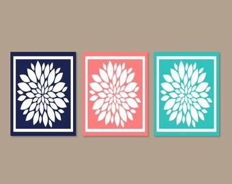 Coral Colored Wall Decor dandelion wall art coral navy gray bedroom pictures canvas or