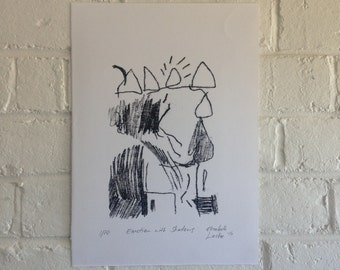Monotype Print - Emotion with Shadows - 1/10 - Hand Printed