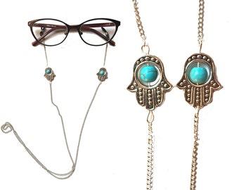 Yoga Hamza hand Eyeglasses Chain Holder Necklace,Eyeglass Chain,Punk Sunglasses Chain,Reading Glasses Chain,Eye wear,eye jewelry, gift