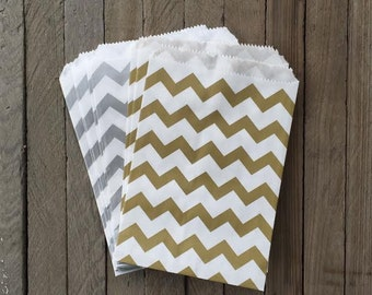 48 Gold and Silver Favor Bag--Chevron Favor Bag--Candy Favor Bag--Chevron Goodie Bag--Chevron Party Sack--Birthday Treat Sacks