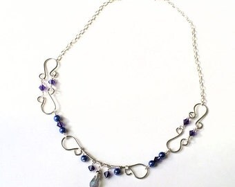 Purple Crystal, Purple Pearl, Wire Bib Necklace, Wire Wrapped Necklace, Elegant, Bridal Jewelry, Special Occasion, Jewelry For Her