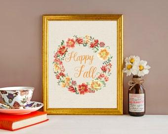 DIGITAL DOWNLOAD - Happy Fall - Fall Wreath - Fall Decor - Autumn Wreath - Autumn Decor - Printable Art - Fall Art - 8x8 print - Fall Print