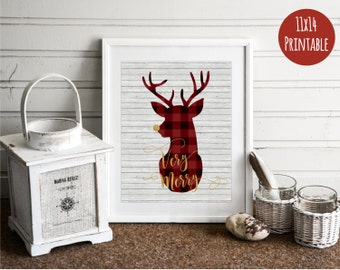 11x14 Christmas Decor - Buffalo Plaid - Christmas Deer - Christmas Decorations - Christmas Print - Christmas art - Rustic Christmas