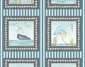 Beach Fabric - Barnacle Bay Whale Heron Panel - 3200P 11 - Priced by the Panel