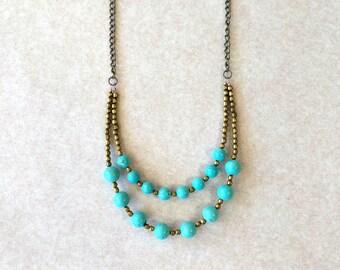 Turquoise Statement Necklace, Bohemian Layered Necklace, Boho Bib Necklace, Beaded Chain Necklace, Multi Chain, Boho Chic, Bronze, Handmade
