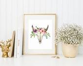Floral Bull Skull 8x10 Art Print | 8x10 Print